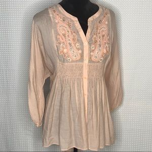 Free People Long Slv Embroidered Button Down Top